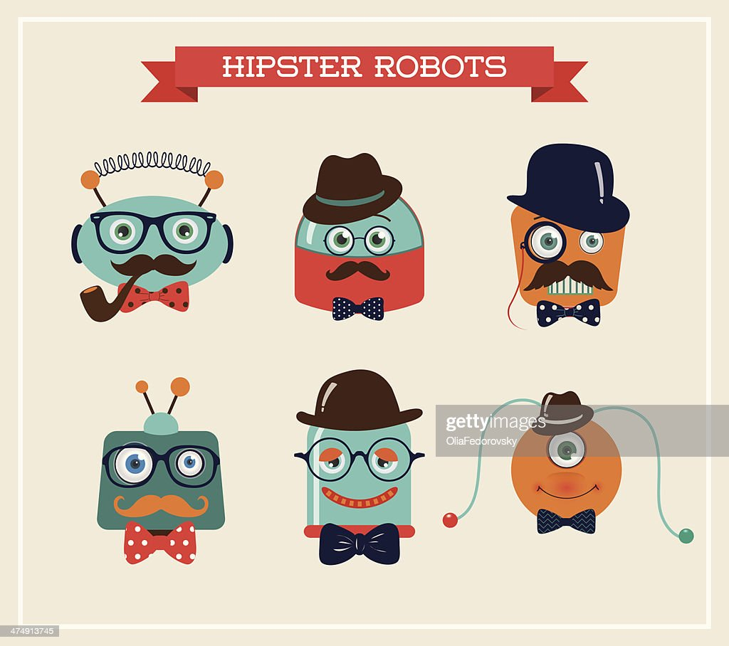 Set of cute retro hipster robots heads