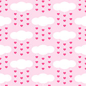 Set of cute retro primitive seamless patterns with clouds and hearts