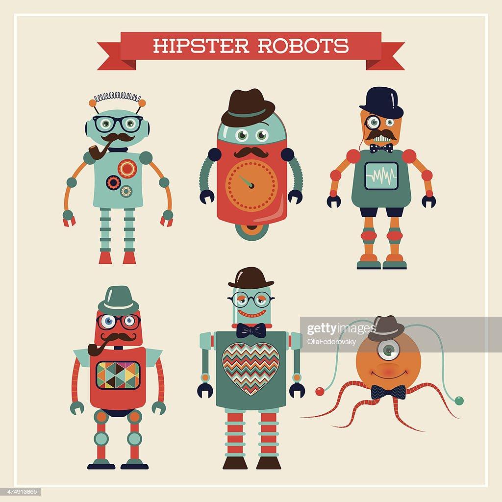 Set of cute retro vintage hipster robots