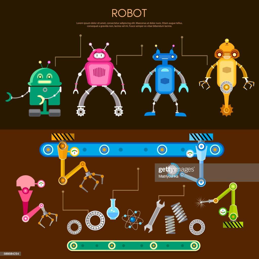 Set of cute robots conveyor belt assembling robots on factory