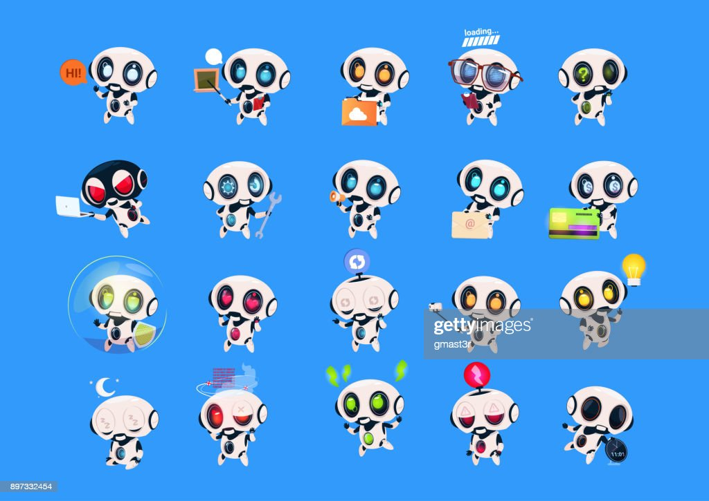 Set Of Cute Robots Icons Isolated On Blue Background Modern Technology Artificial Intelligence Concept