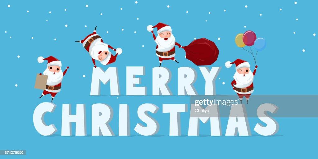 Festlegen Der Niedliche Weihnachtsmann Charakter Mit Großes Wort ...