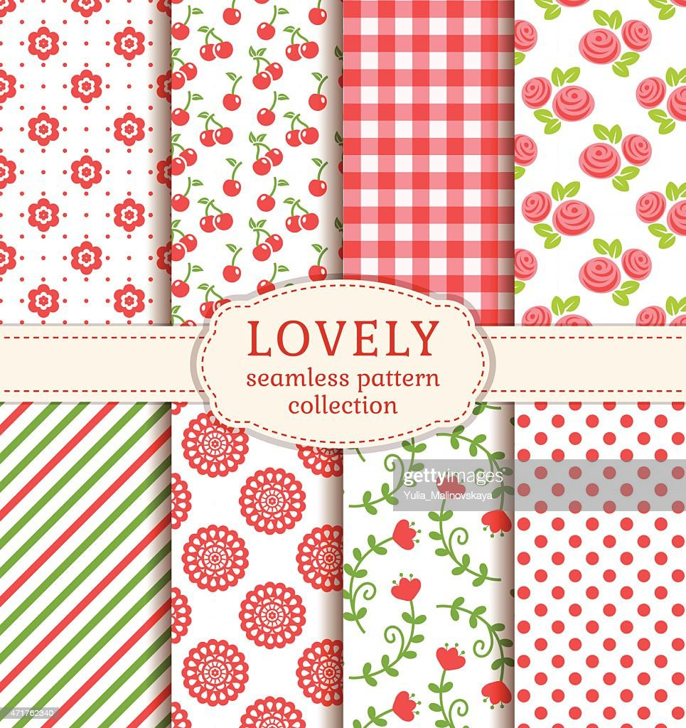 Set of cute seamless patterns for vector backgrounds
