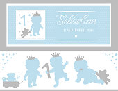 Set of cute silhouettes. Little prince party (baby shower, baptism, birthday)