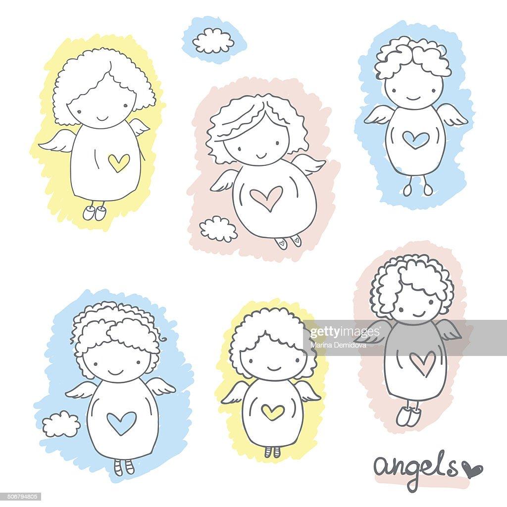 Set of cute sketch angels
