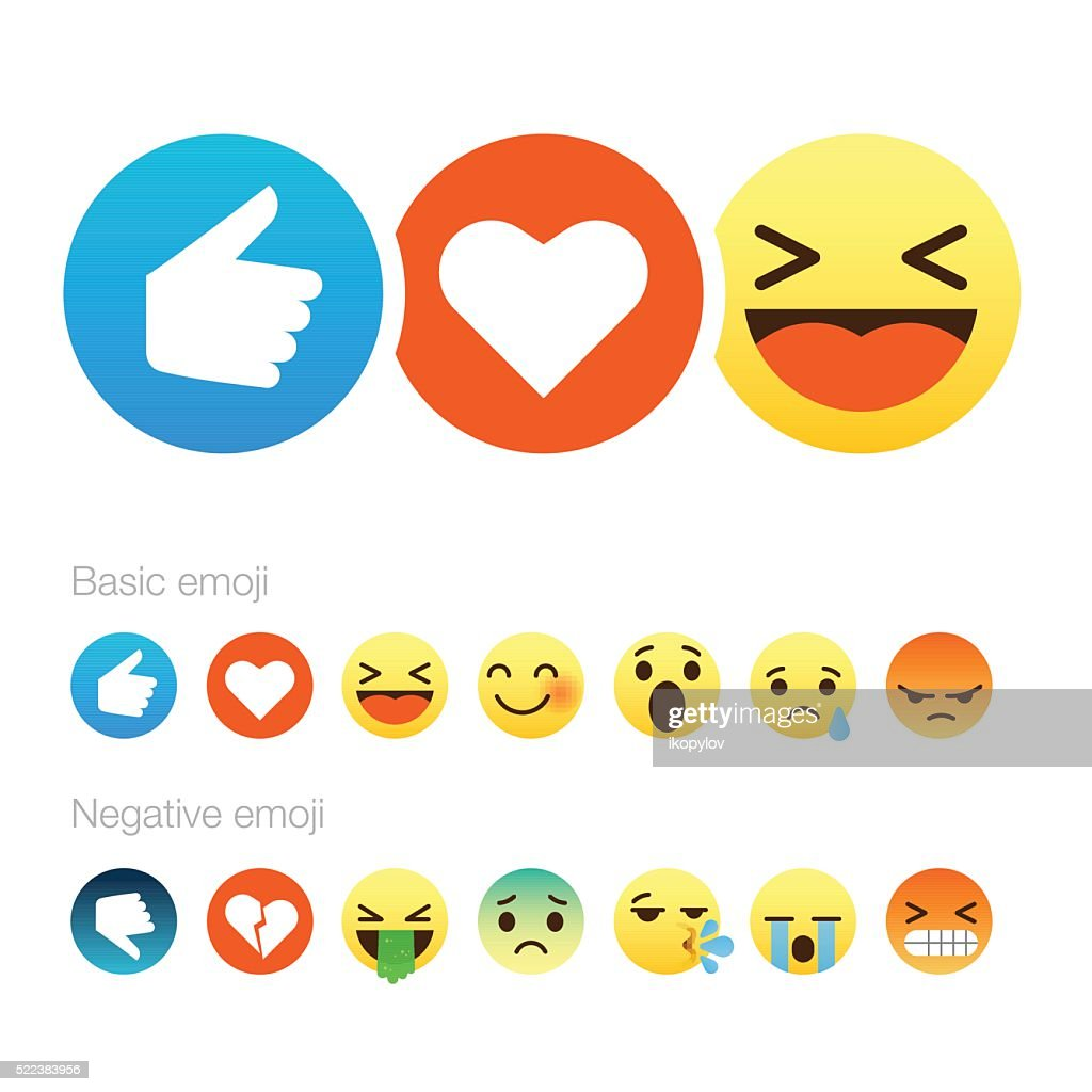Set of cute smiley emoticons, flat design