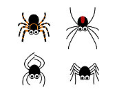 Set of cute spider in simple style, vector