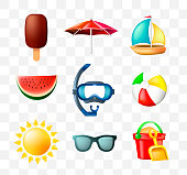 Set of Cute Summer Icons on Transparent Background