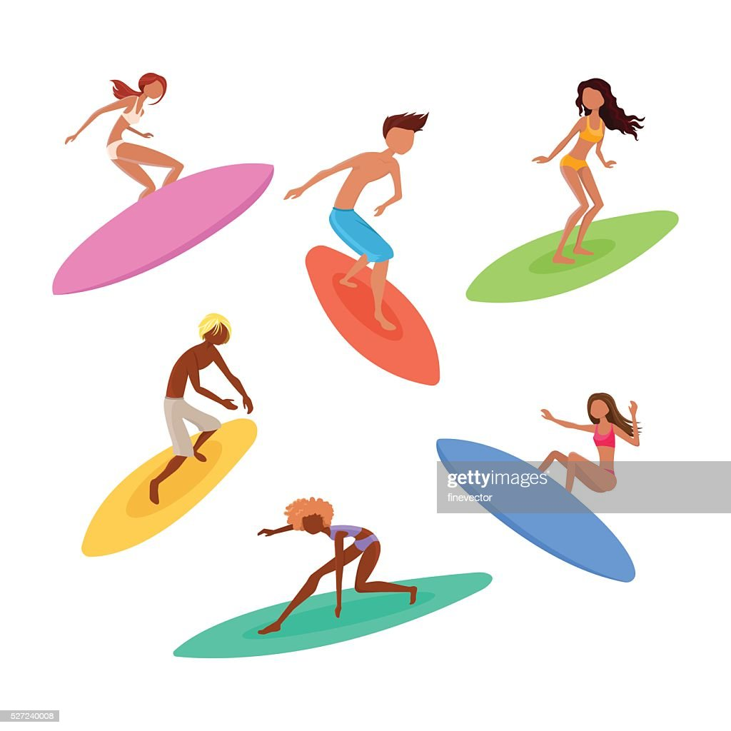 Set of cute surfers with surfboards. Surfing characters.