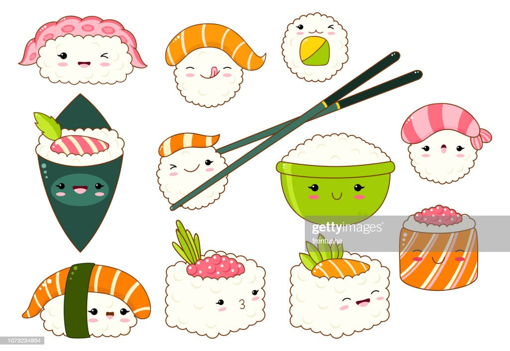 Set of cute sushi and rolls icons in kawaii style