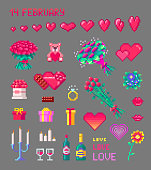 Set of cute Valentines pixel art icons