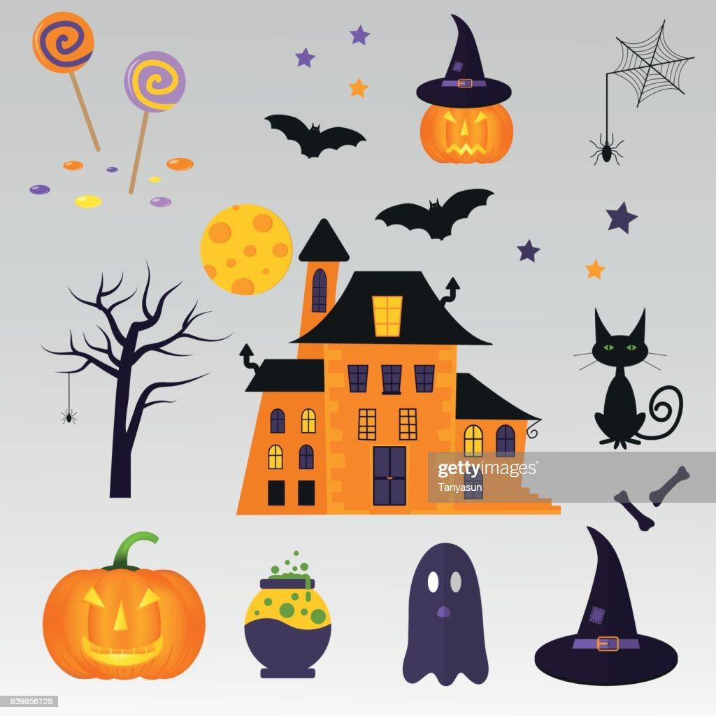 set of cute vector halloween icons of pumpkin castle cat ghost candy