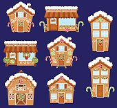 Set of Cute Vector Holiday Gingerbread Houses, Shops