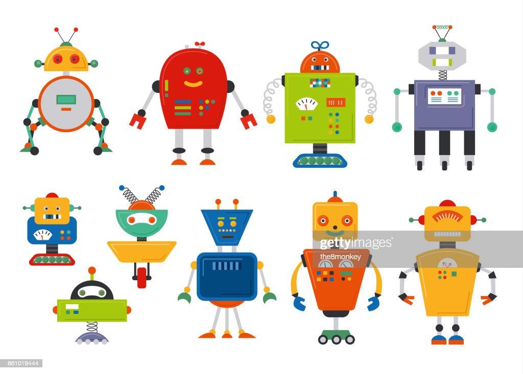 Set of cute vintage cartoon robots