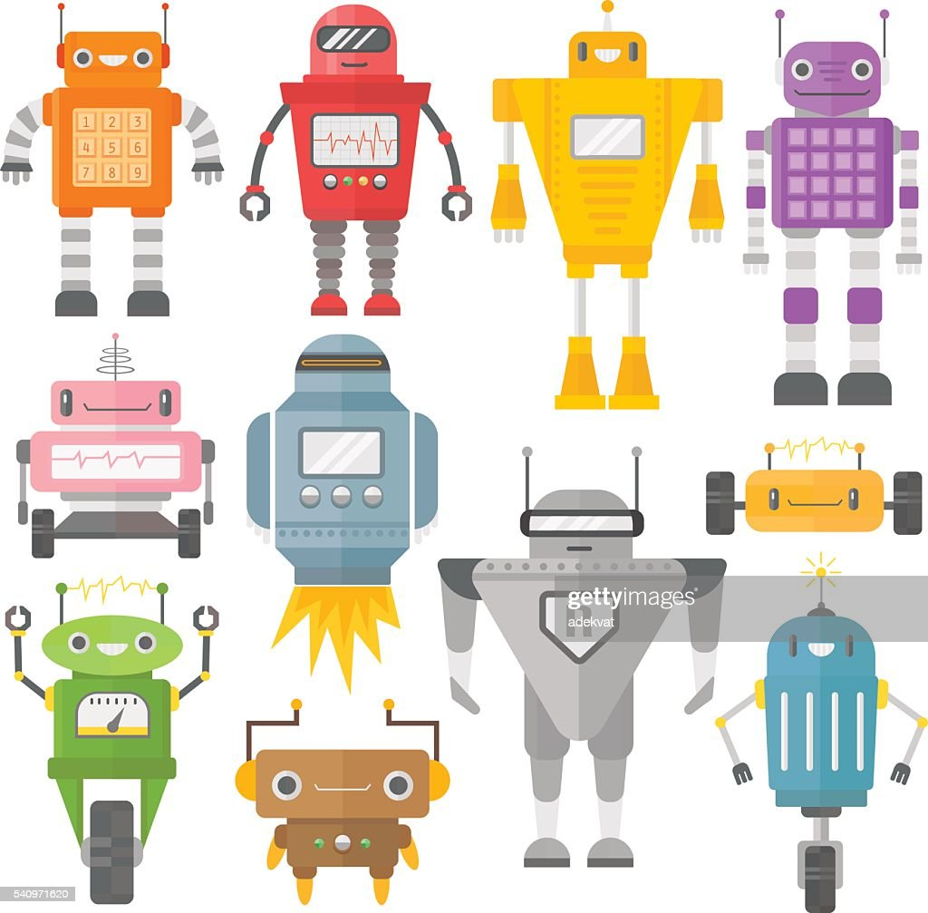 Set of cute vintage robots vector.