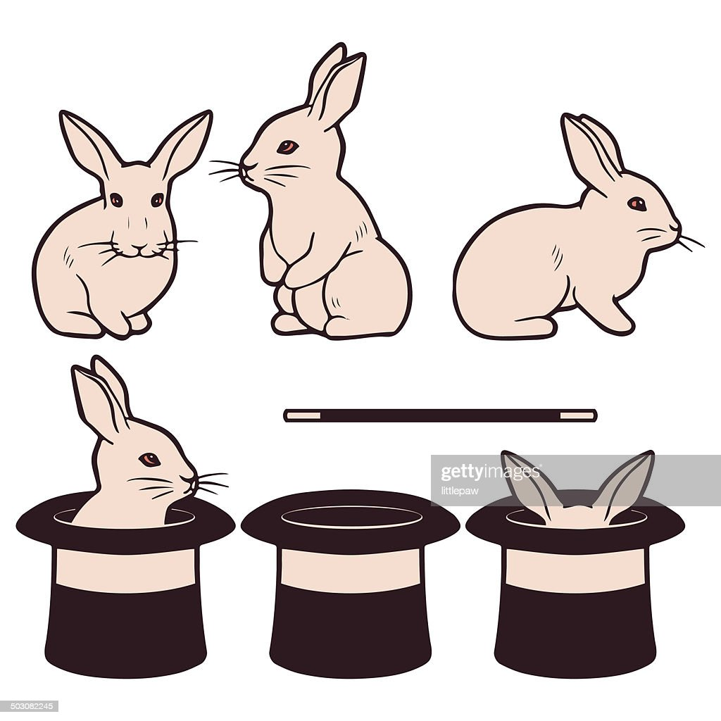 Set of cute white rabbits and cylinders magic performance