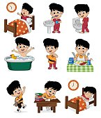Set of daily cute boy.Boy wake up,brushing teeth,kid pee,taking a bath,dressed up,breakfast,kid learning,kid sleep.