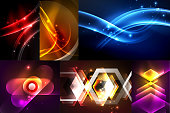 Set of dark abstract backgrounds with glowing geometric shapes