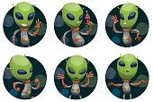 Set of dark space round frames with funny green aliens