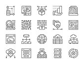 Set of data analysis and cloud computing line icons. Network hosting, program algorithm, database, ftp server,  synchronization and more.