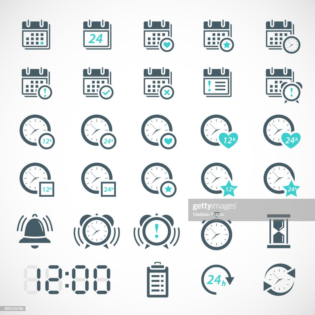Set of date, time, calendar icons
