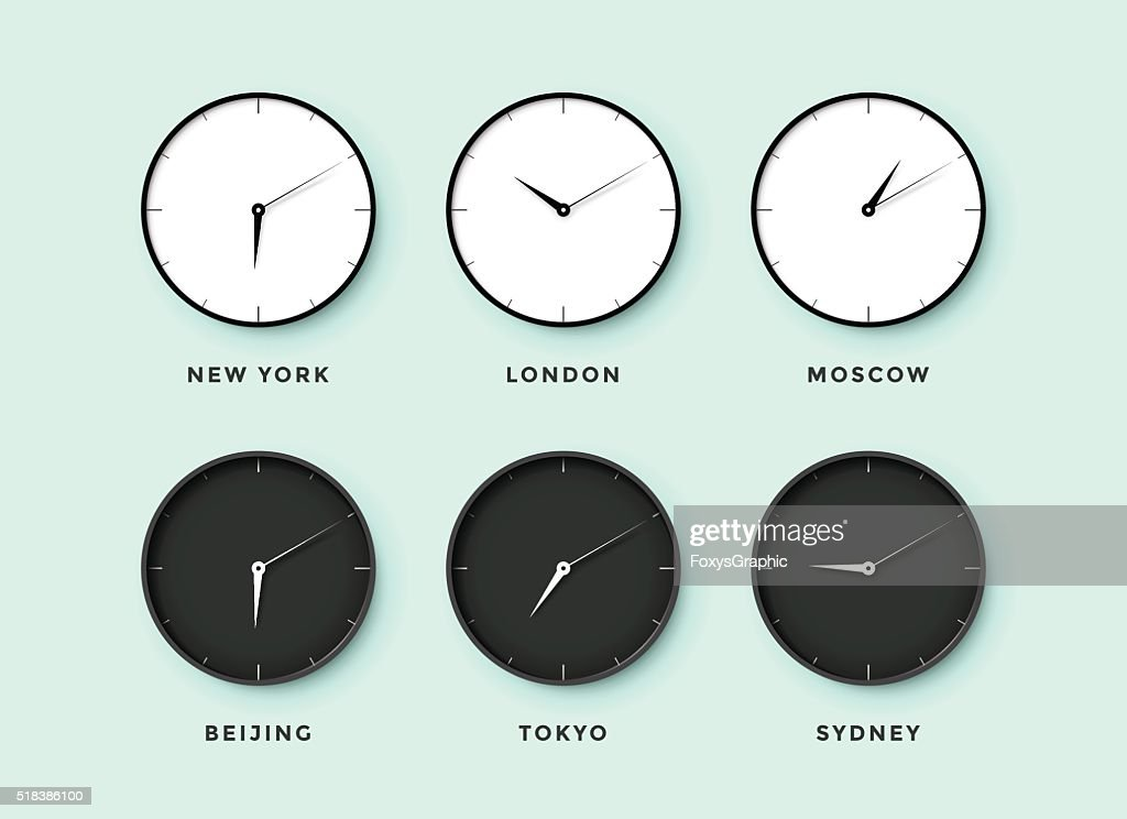 Set of day and night clock for time zones different