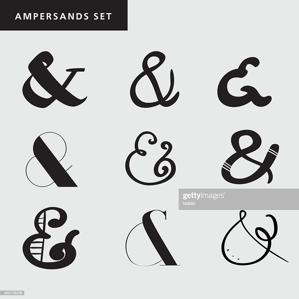 Set of decoration ampersands for letters, invitation. Hand drawn type
