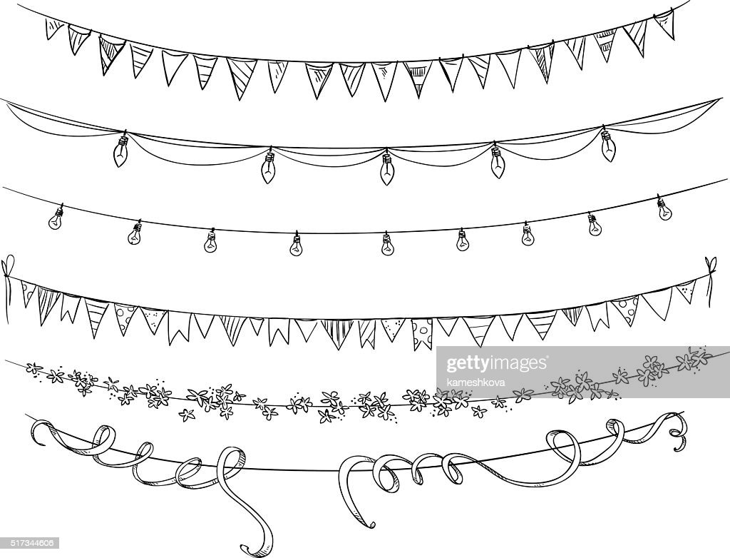 Set of decorations. Flags and lights. Vector sketch.