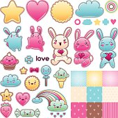Set of decorative design elements with kawaii doodles