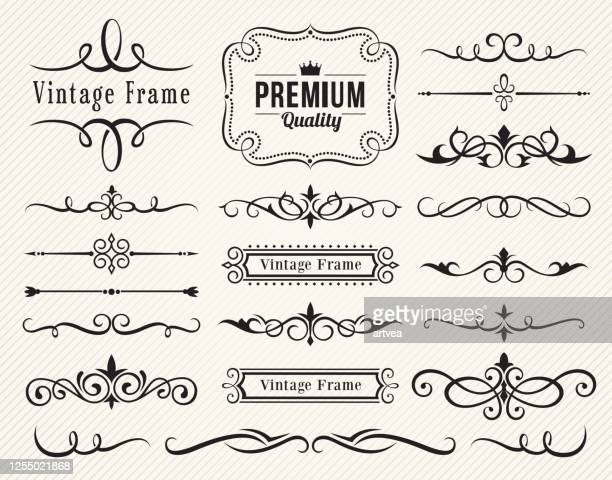 set of decorative elements for design - geographical border stock illustrations