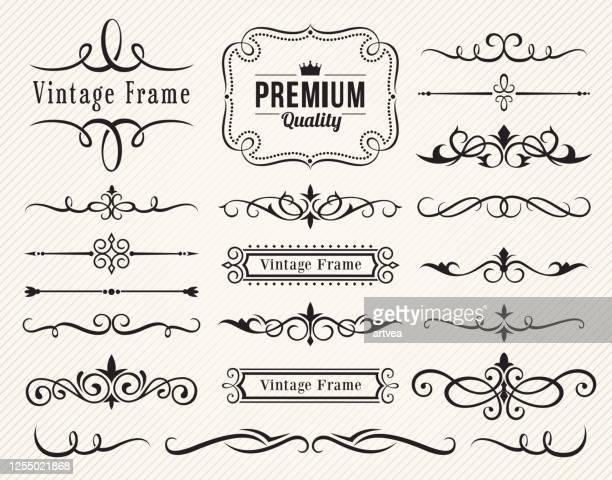 satz dekorativer elemente für design - dekoration stock-grafiken, -clipart, -cartoons und -symbole