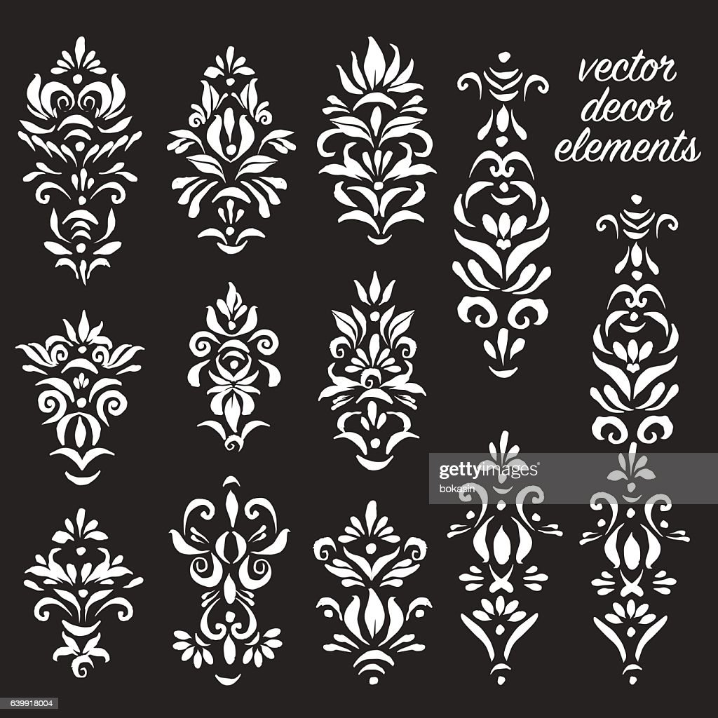 Set of decorative elements in black and white