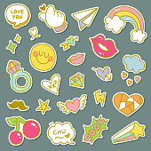 Set of Decorative Fashion Patches, Badges, or Pins