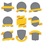 Set of decorative ribbons and banners in flat style