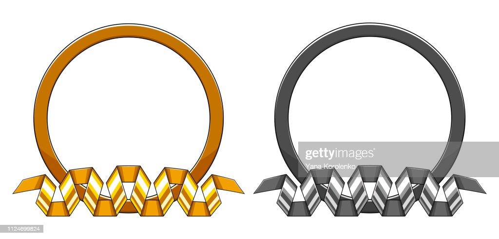 Set of decorative round gold and silver frame with curved down spiral ribbon. Vector illustration.