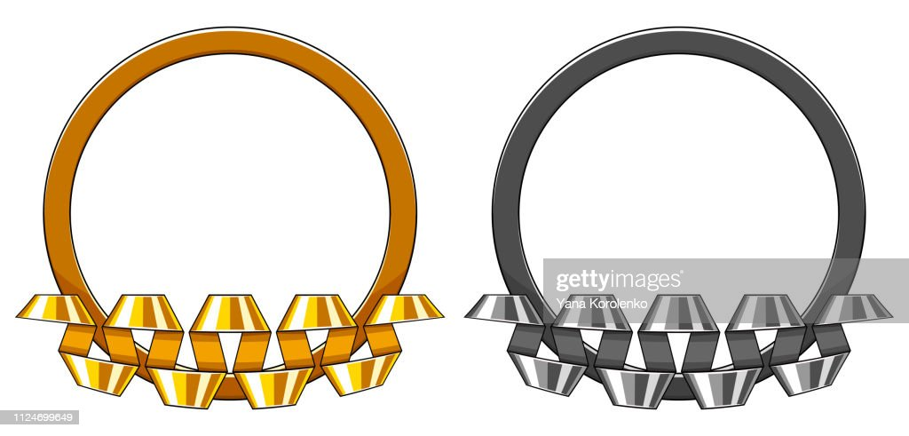 Set of decorative round gold and silver frame with curved up spiral ribbon. Vector illustration.