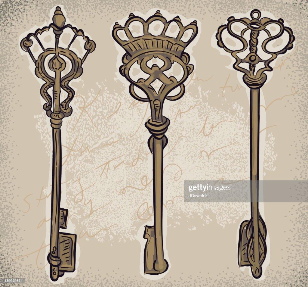 Set of decorative skeleton keys
