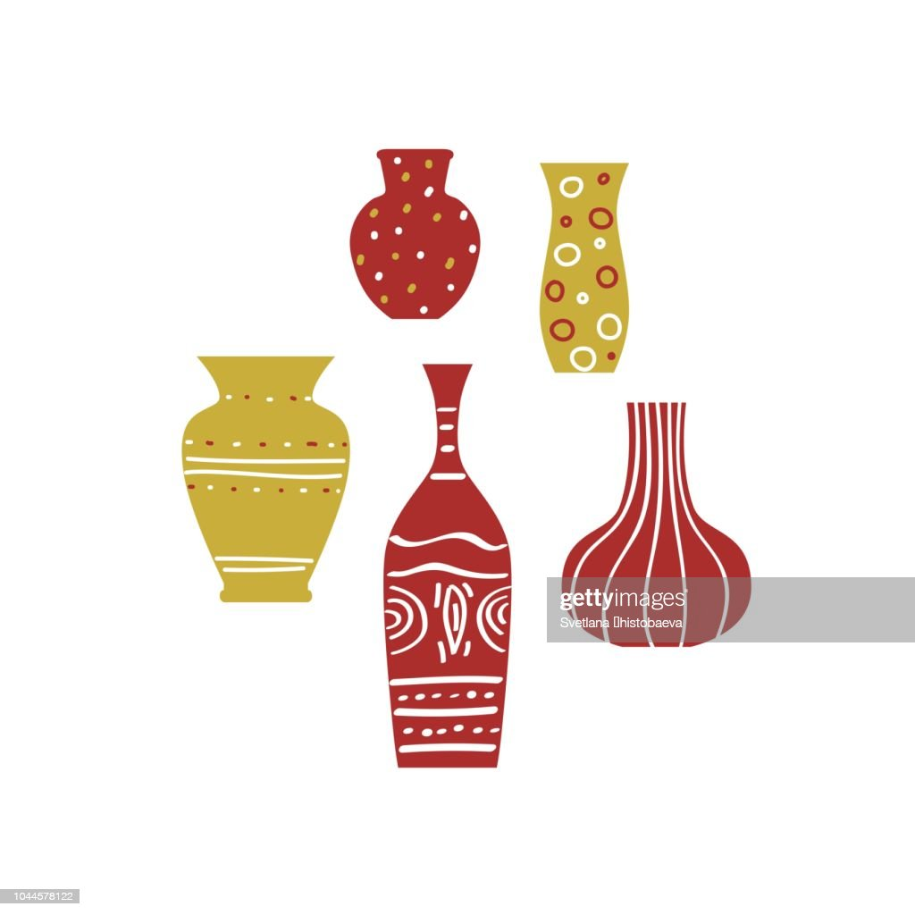 Set of decorative vases of different sizes with ornaments