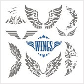 Set of decorative wings isolated