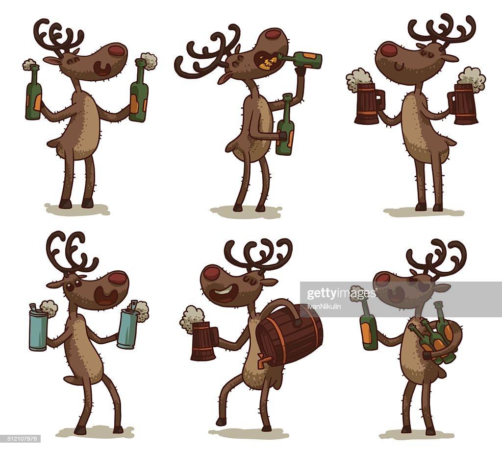 Set of deers with beer