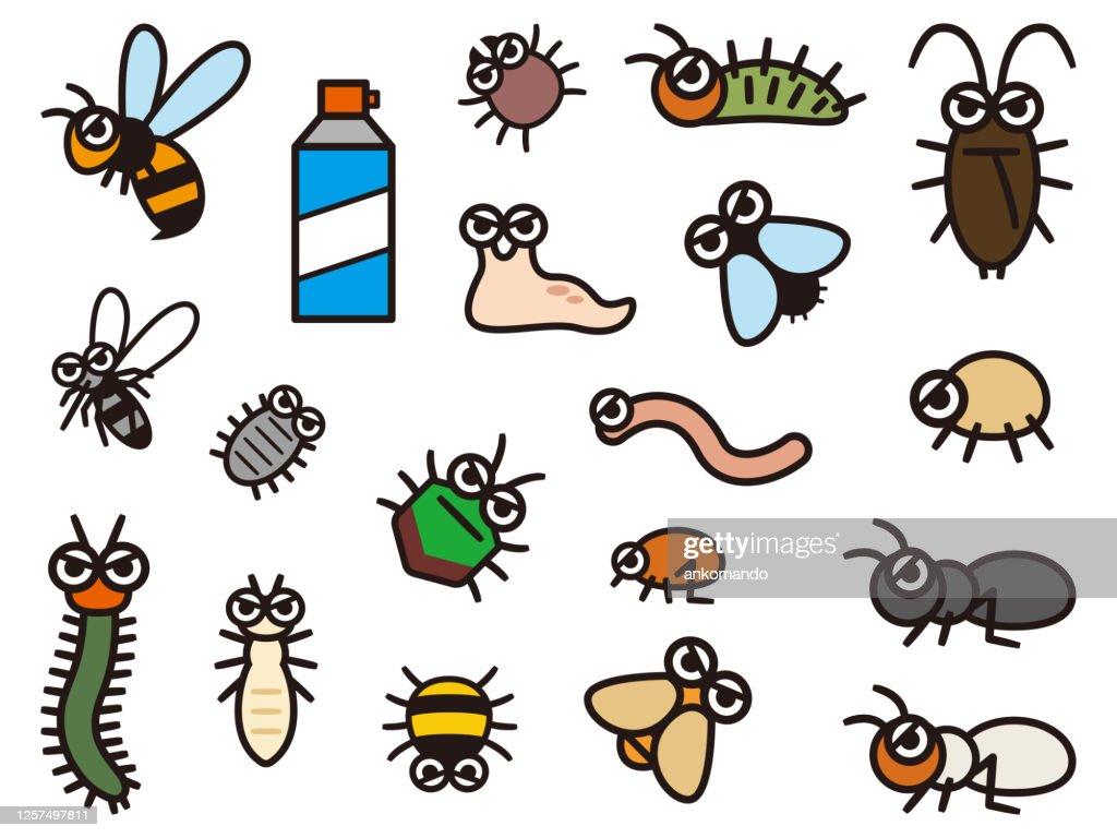Set of deformed illustrations of pest control : stock illustration