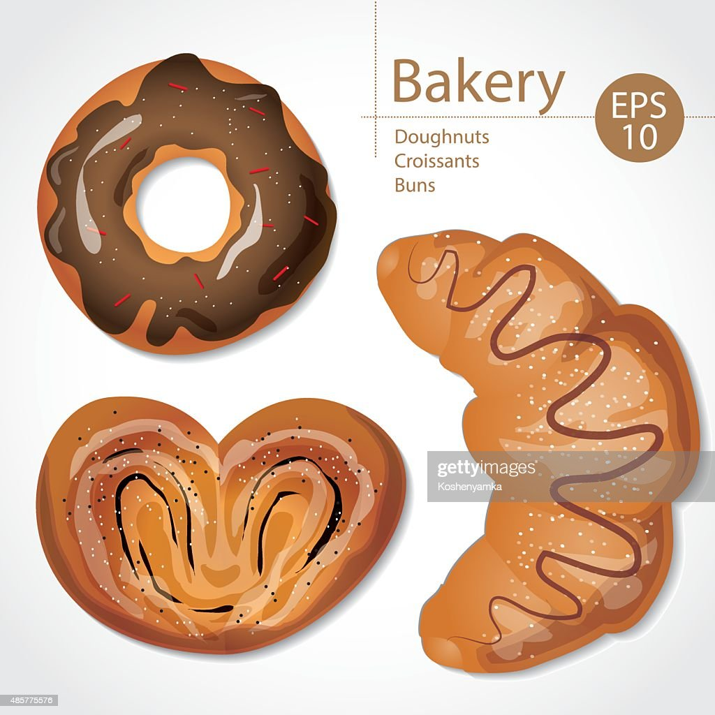Set of delicious buns, croissants and donuts on white background