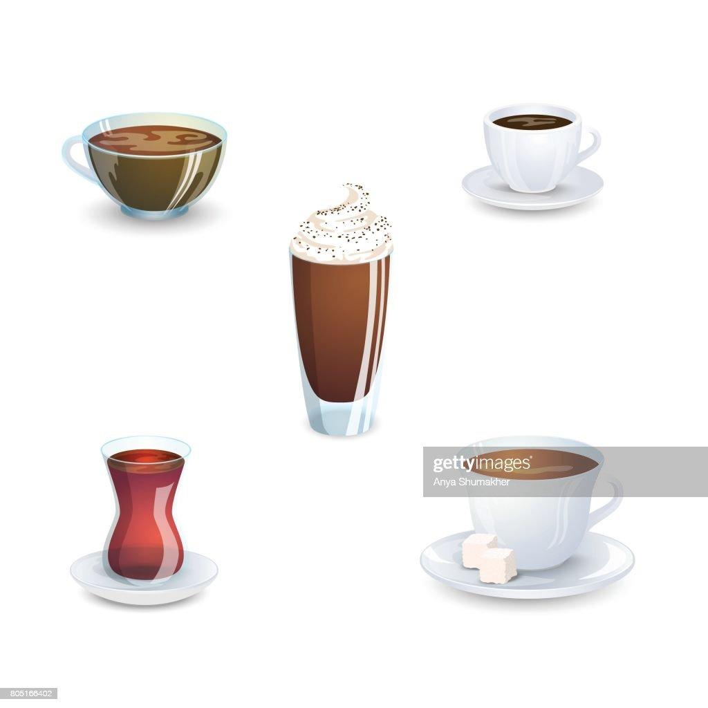 Satz Von Leckere Heiße Getränke Kaffee Tee Und Zubehör Die Isoliert ...