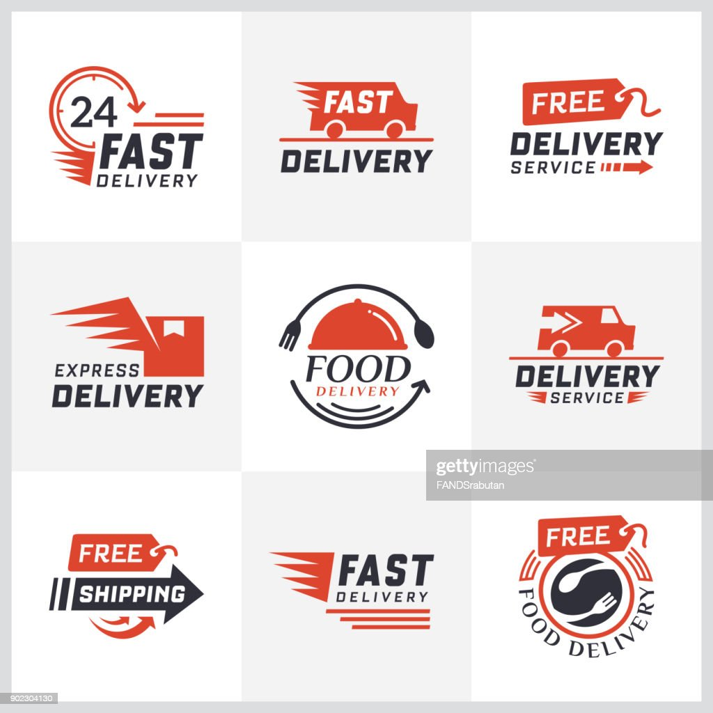 Set of delivery labels for online shopping