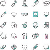 Set of dental care web icons. vector icons of teeth