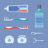 Set of dental cleaning tools. Flat style vector illustration.