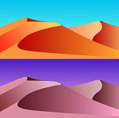 Set of desert landscape illustrations.