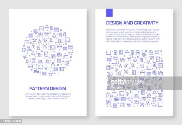 satz von design und kreativität icons vektor muster design für broschüre, jahresbericht, buch-cover. - künstlerischer beruf stock-grafiken, -clipart, -cartoons und -symbole