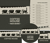 set of design elements for coffee house with menu