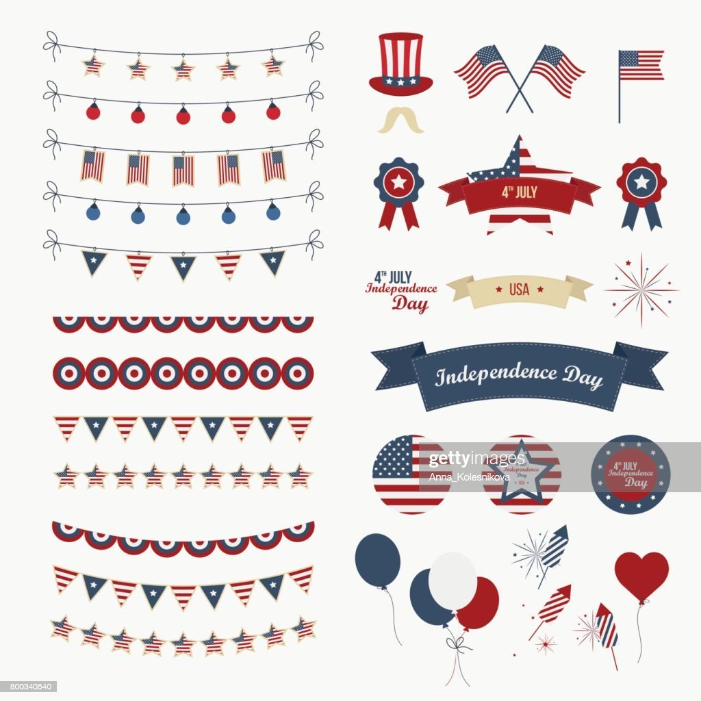 A set of design elements for Independence Day.
